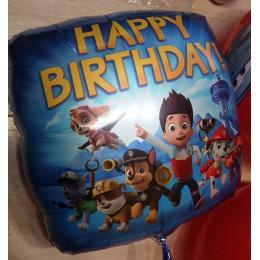 Шар-квадрат Щенячий патруль на день рождения (Happy Birthday) синий - дополнительное фото #1