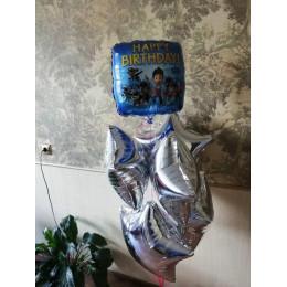 Шар-квадрат Щенячий патруль на день рождения (Happy Birthday) синий - дополнительное фото #3
