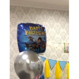 Шар-квадрат Щенячий патруль на день рождения (Happy Birthday) синий - дополнительное фото #4