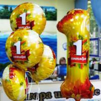 Композиция из шаров на 1 сентября с цифрой 1 и кругами
