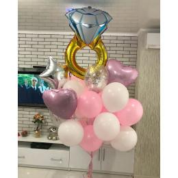 Букет шаров с гелием на девичник Нежный, с обручальным кольцом