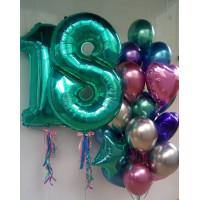 Композиция из шаров на 18 лет с шарами Хром
