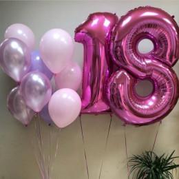 Композиция из шаров на 18 лет Нежные тона