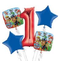 Букет фольгированных шаров Щенячий патруль с красной цифрой 1