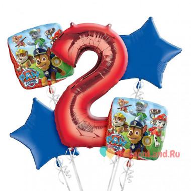 Букет фольгированных шаров Щенячий патруль с красной цифрой 2