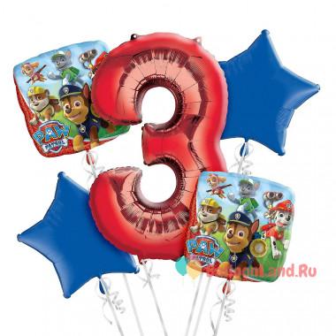 Букет фольгированных шаров Щенячий патруль с красной цифрой 3