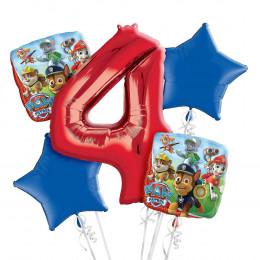 Букет фольгированных шаров Щенячий патруль с красной цифрой 4