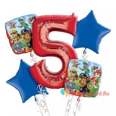 Букет фольгированных шаров Щенячий патруль с красной цифрой 5