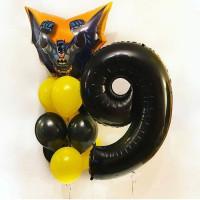 Композиция из шаров на день рождения с чёрной цифрой