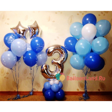 Композиция шаров с гелием на День Рождения в голубой гамме с цифрой