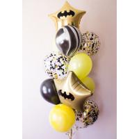 Фонтан из шаров в стиле Бэтмен с конфетти