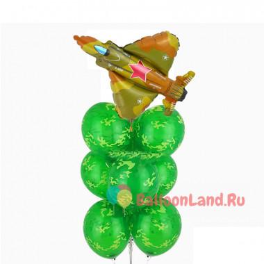Фонтан из шаров камуфляж с истребителем