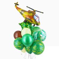 Композиция из шаров на 23 февраля с вертолётом
