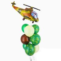 Фонтан из шаров на 23 февраля с вертолётом