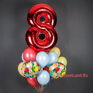 Букет шаров с гелием на 8 марта с красной цифрой