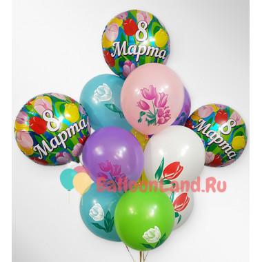 Букет шаров с тюльпанами на 8 марта