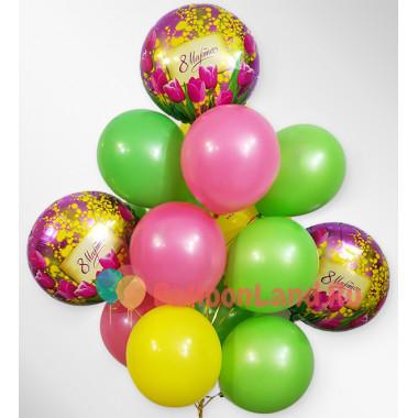 Букет ярких воздушных шаров на 8 марта