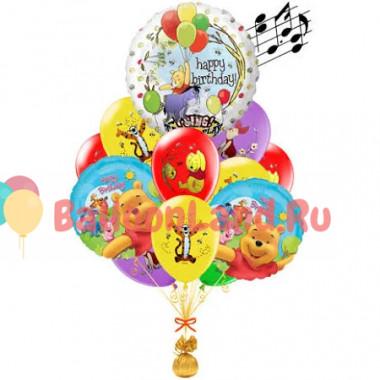 Букет из воздушных шариков Винни-пух с музыкальным шаром