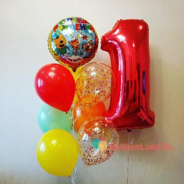 Композиция из гелиевых шариков Три кота с цифрой и шарами с конфетти