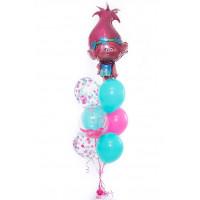 Фонтан из шариков в розово- голубой гамме, Розочка из м/ф Тролли с шаром с перьями