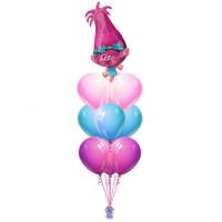 Фонтан из шаров с гелием Принцесса Розочка из м/ф Тролли