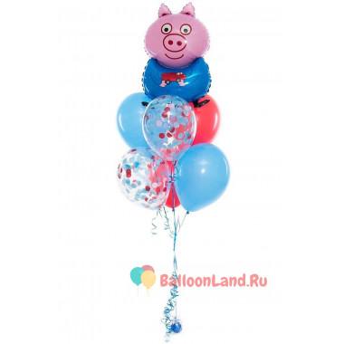 Букет шаров с персонажем Поросенок Джордж из м/ф Свинка Пеппа