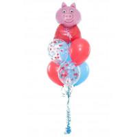 Букет гелиевых шариков с персонажем Свинка Пеппа из м/ф