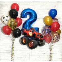 Композиция из шаров на День Рождения, со Вспышем, звездами и шарами с конфетти