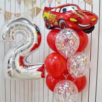 Композиция из гелиевых шаров тачки с красной Машинкой, цифрой и шарами с конфетти