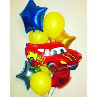 Букет гелевых шаров Тачки с красной Машинкой и звездами