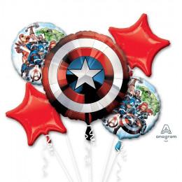 Сет из шариков с гелием Мстители со Щитом Капитана Америки и звездами
