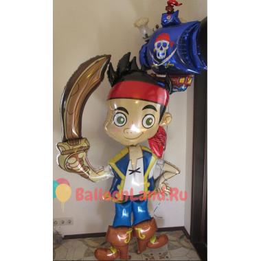 Композиция из гелиевых шаров пират Джейк с кораблем