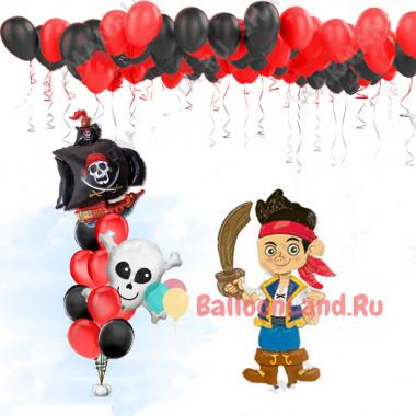 Композиция из гелевых шаров в черно- красных тонах с пиратским кораблем, черепом и фигурой пирата Джейка