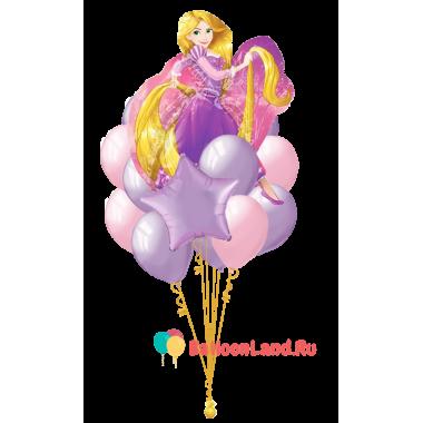 Букет шаров с принцессой Рапунцель и звездой