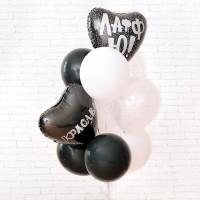 Букет шаров с бело-черной гамме с сердцами с надписями