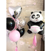 Композиция из гелиевых шариков Панда с сердцем