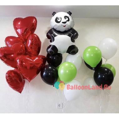 Композиция из гелевых шариков Панда с красными сердцами