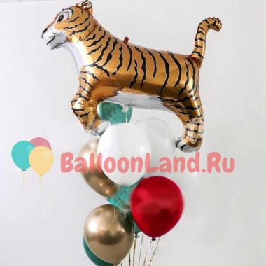 Букет из шариков с Тигром и шарами хром