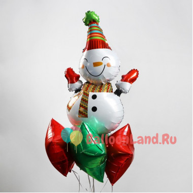 Букет из шариков с гелием Веселый снеговик
