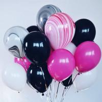 Букет из гелиевых шаров для девушки с мраморными шарами