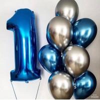Композиция из шаров хром с цифрой на годовасие