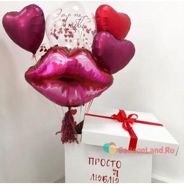 Композиция из воздушных шариков с губками и сердцами в коробке-сюрприз