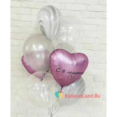Букет из шариков с гелием с сердцами и агатами на 8 марта