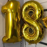 Комплект цифр 18 золотого цвета с гелием - дополнительное фото #1