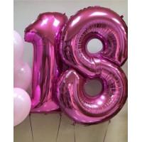 Комплект цифр 18 розового цвета с гелием - дополнительное фото #1