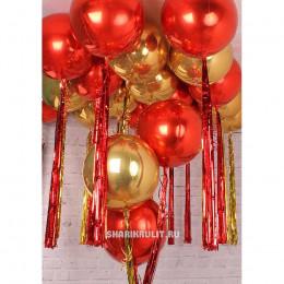 Шарик-сфера Красный, металлик - дополнительное фото #1