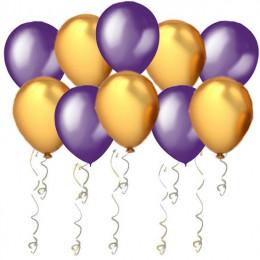 Воздушные шары Фиолетовые и золотые