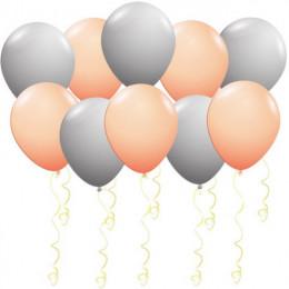Воздушные шары Персиковые и серые