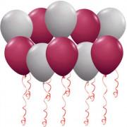 Воздушные шары Серебро и бургундия