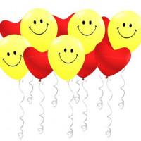 Воздушные шары Смайл с сердцами